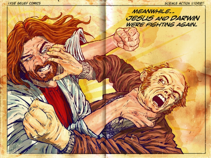 Jesus fights Darwin again.